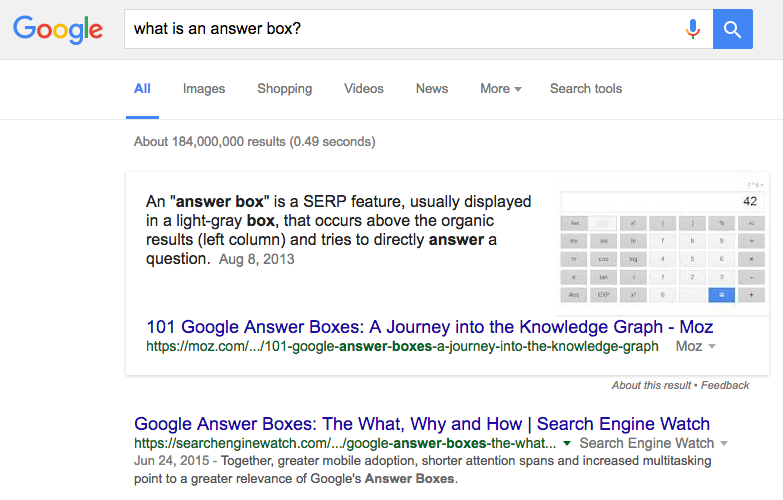 Google Answer Box