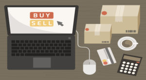 notebook with shopping items on online shopping concept vector