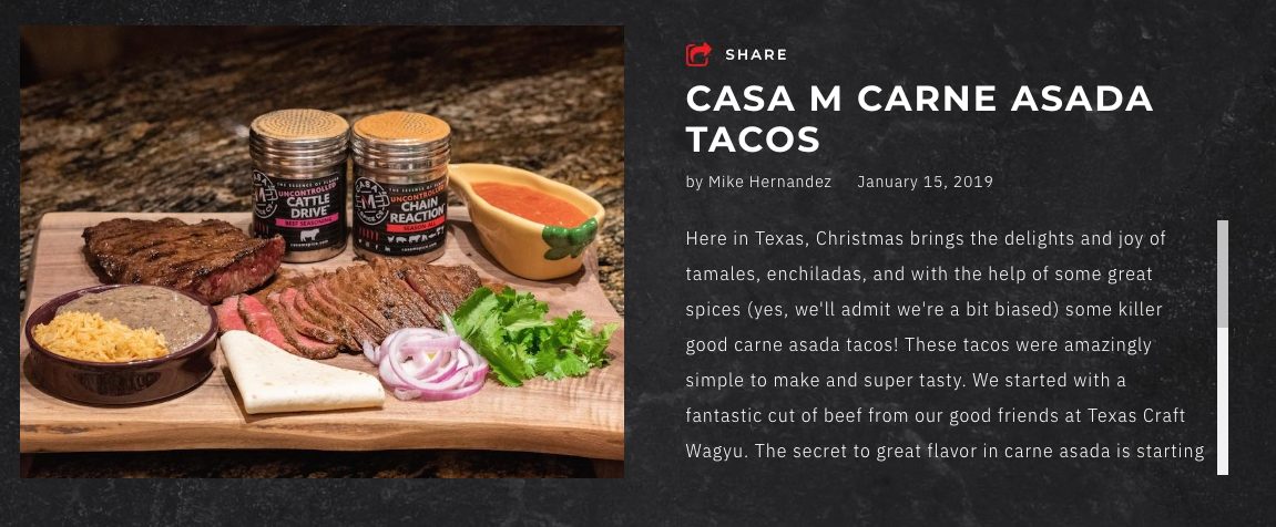 casa m spice co recipe page