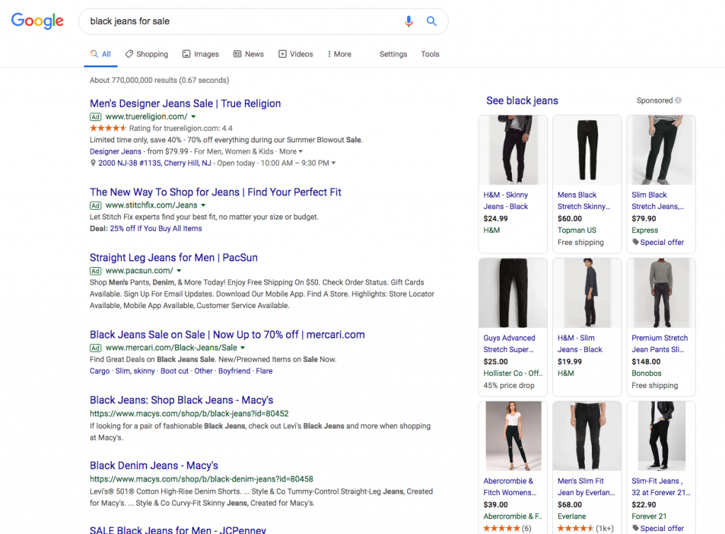 Google search engine results